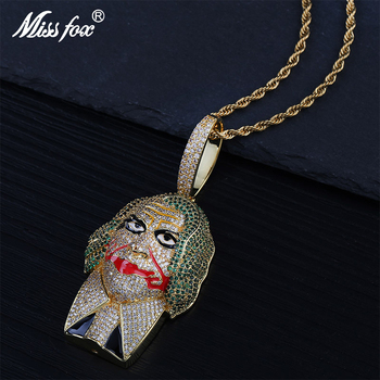 Missfox Dc Clown Personality Pendant Necklace Men Lab Diamond Gold Silver Trendy Copper Jewelry Hip Hop Top Quality The New 2019