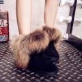 UVWP New Fashion Women's Real Fox Fur Snow Boots 100% Genuine Leather Winter Boots Women Boots Winter Ankle Shoes Free Shipping