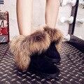 UVWP Nueva Moda Real de Piel De Zorro de Las Mujeres Botas de Nieve 100% Botas de Invierno de Cuero genuino de Las Mujeres Botas de Invierno Tobillo Zapatos de Envío gratis