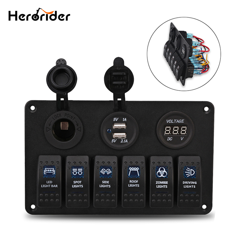 Herorider 12V 24V Car-styling Boat Yacht Marine 6 Gang Waterproof Car Marine LED Rocker Switch Panel Circuit Breakers(China)