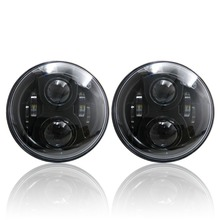 2x 7″ Inch Round 6-LED Headlights For Land Rover Defender Headlamps Hi / Lo Beam