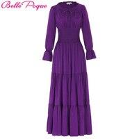 Belle Poque Medieval Dress Cotton Long Sleeve Maxi Dresses Gowns Victorian Gothic Punk Vintage Christmas Long