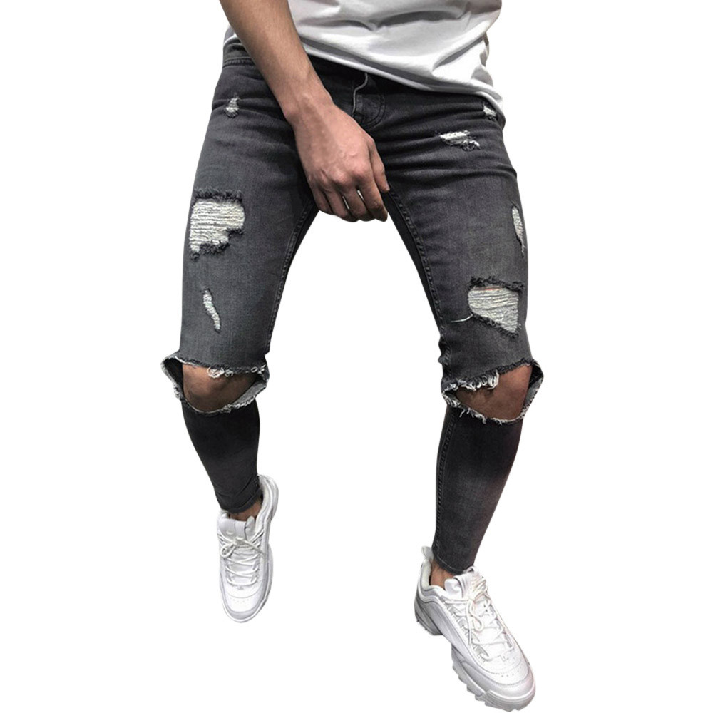 Mens Skinny Stretch Denim Pants Distressed Ripped Freyed Slim Fit   Jeans   Trouser   Jeans   Hombre Trousers Men Stretch Black Modis 10