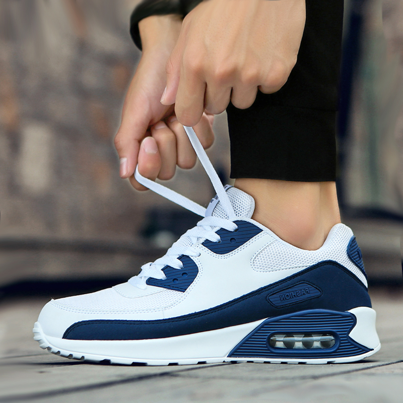 Air Cushion Sports & Casual Shoes Large Size Men's Shoes 46 Lovers Trendy Running Shoes Blue Patchwork Walking Jogging Shoes
