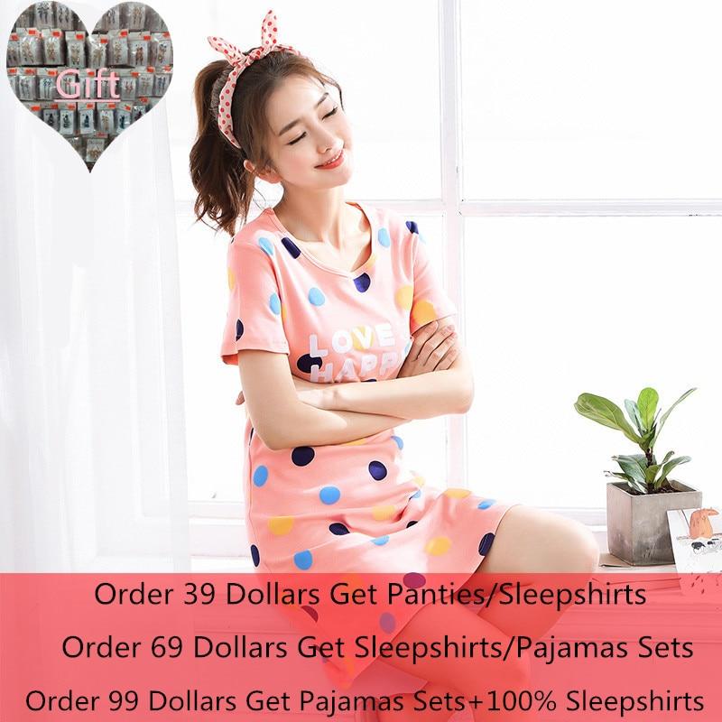Summer New Knitted Cotton Women's Sleep Lounge Dress Big Girls Cute Sleepwear Nightgowns Sleepshirts Night wear Shirts Homewear