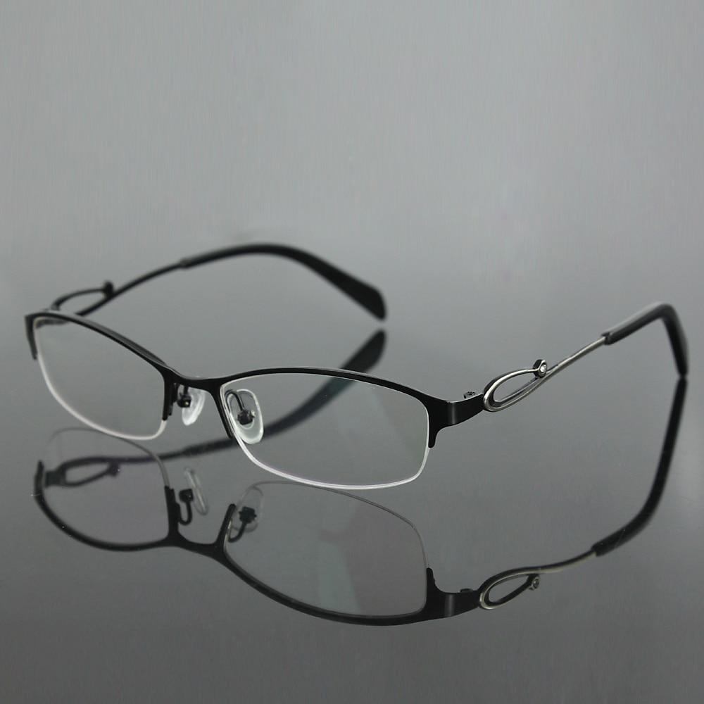 841dc10cd1 Mujeres del acero inoxidable de la mitad sin rebordes marco de las lentes  de moda gafas RXable gafas miopía 7256 en Marcos Eyewear de Ropa y  Accesorios de ...