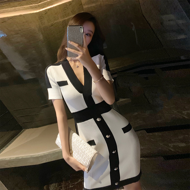 Seamyla New Women Bandage Dress Fashion Short Sleeve White Bodycon Celebrity Party Dresses Sexy V Neck Button Club Summer Dress 3