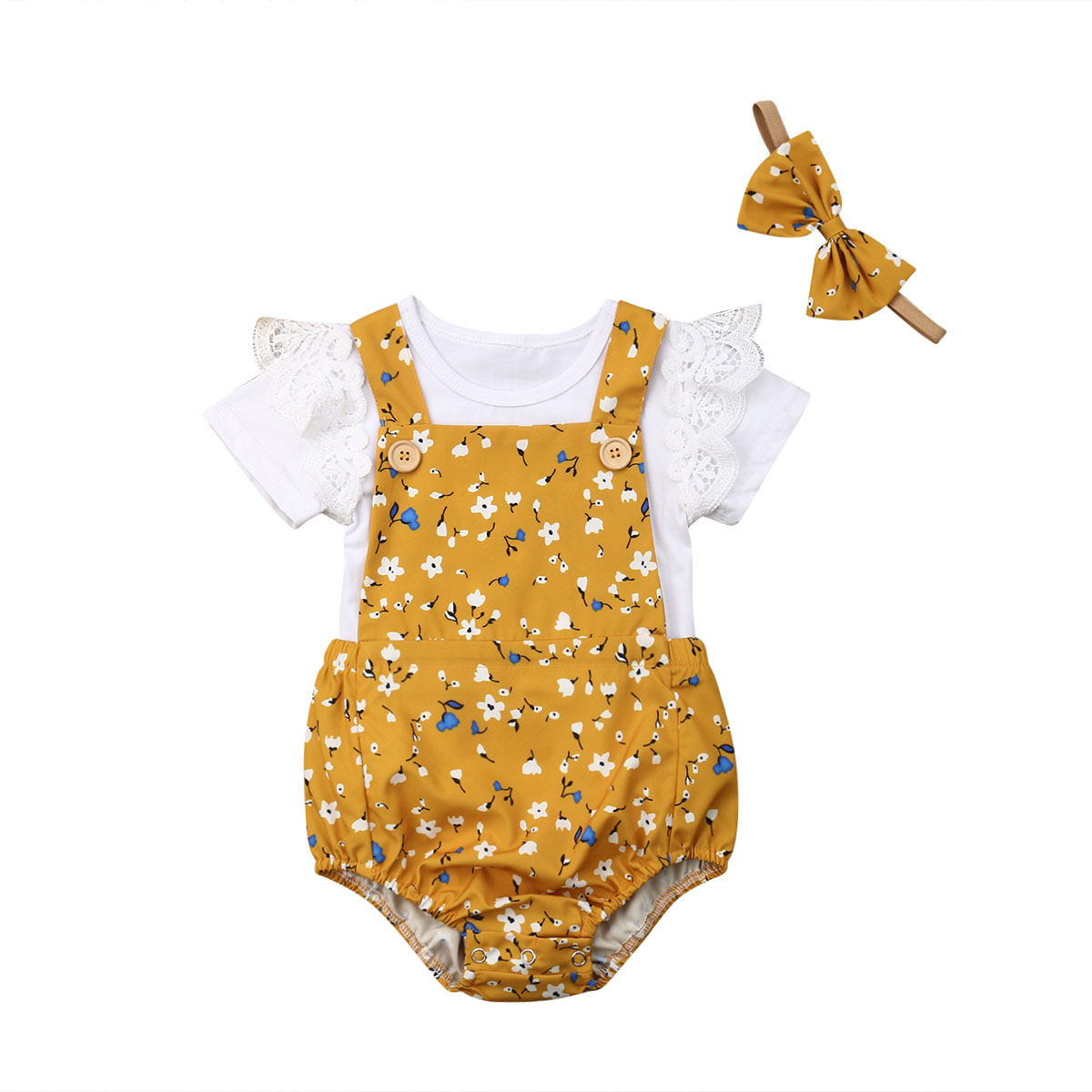 New Baby Girl Summer Clothes Set Lace Ruffle Sleeve Romper +Floral Overalls Shorts+Handband Outfits 0-18