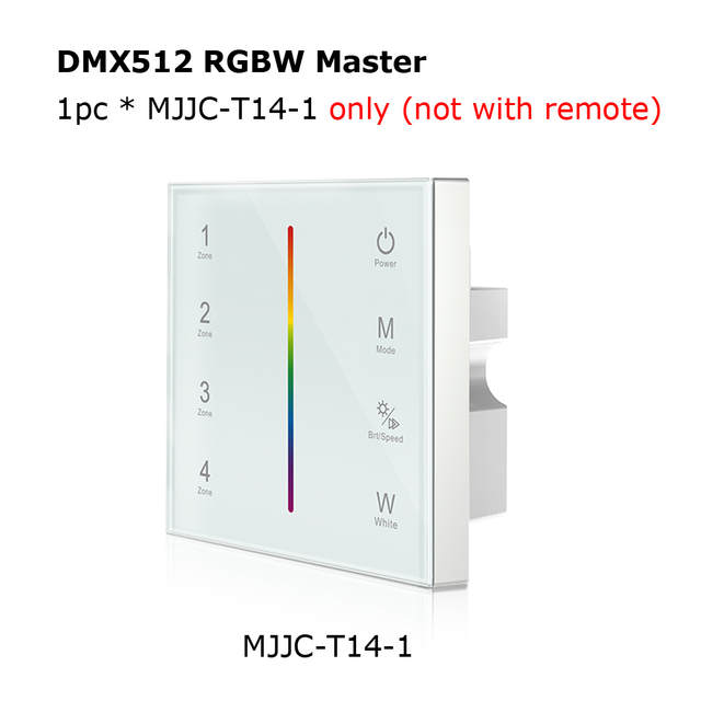 US $29 13 32% OFF MJJC DMX Controller 512 4CH Zone RGBW DMX512 Master  Control Wireless 2 4G RF Remote Wall Mounted Touch Panel Controller T14  1-in RGB