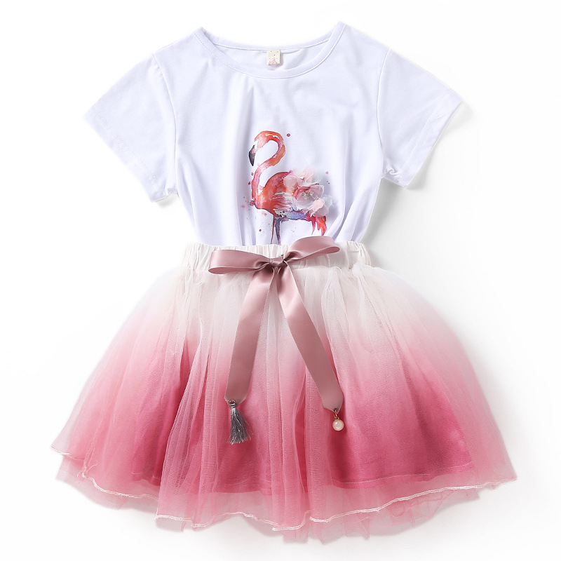Flamingo Kids Girl Clothing Set Summer Clothes Children Girl Skirt T Shirt 2pcs Suit Tulle Dress Outfit Set Baby L056
