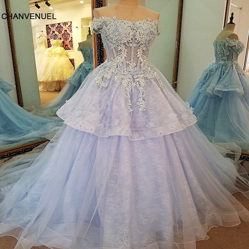 LS36368 Formal Dresses with flowers Long Corset Back Ball Gown Beaded Blue  Evening Party Dress Robe De Soiree Real Photos 0c3eee52dbc7
