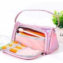 Super Multifunction Big Pencil Case Kawaii Large Capacity Pencilcase School Supplies for Girls laser Pencil Bag Pencil Box Pouch(China)