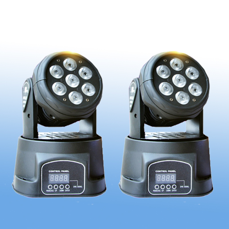 2 Pieces Led Moving Head Wash 7x12w DMX Mini Music Sound Stage Light Christmas Party Lumiere Laser Show Disco Dj RGBW Lighting