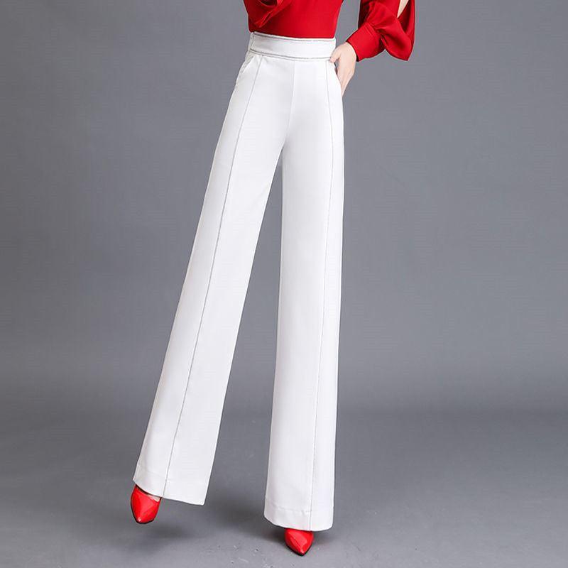 Stretch blanc Contraste Lady Noir Pantalon Mince Ol Automne 2019 Élégant Femmes Bas Taille Large Elastique Z198 Couleur Printemps Nouveau Blanc En Drapé wpn1qaS