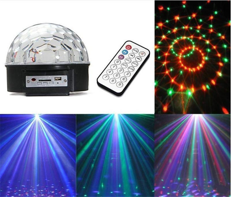 LED MP3 DJ Disco Party Club DMX512 Crystal Magic Ball Stage 18W RGB Light