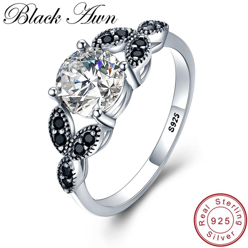 [BLACK AWN] 925 Sterling Silver Ring Smycken Trendig Förlovning Baga - Fina smycken