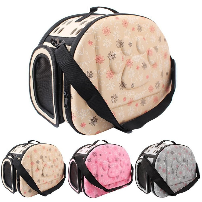 Small Pet Sided Carrier For Dogs Cats Travel Bag Folding Carrier Cage Collapsible Crate Tote Handbag Portable Tools