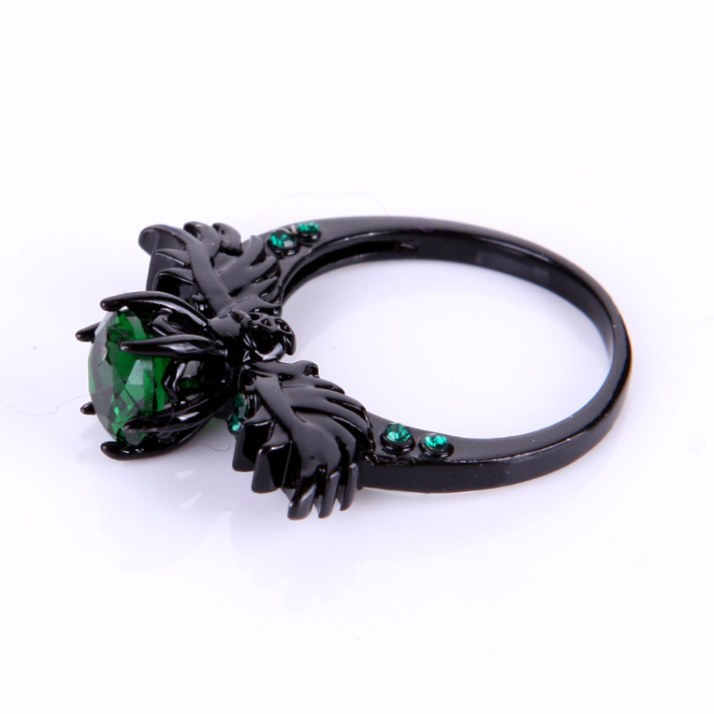 Wedding Women's Ring Turkish Gothic Skull Wing Engagement Ring Green Red  Stone Finger Sapphire Zircon Black Filled Prong Ringin Rings From Jewelry