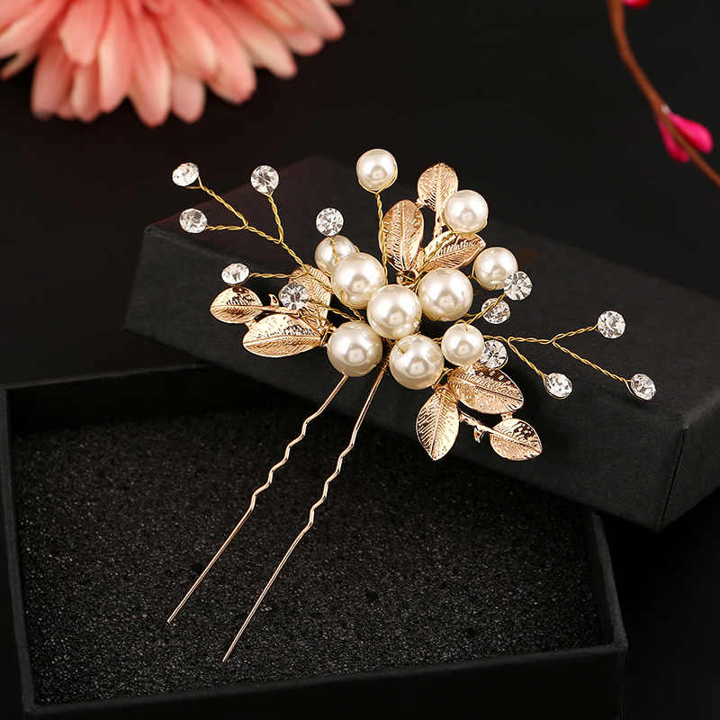 1 PCS Gold Flower Leaf U shape Hair Sticks Pearl Clip Vintage Pins Wedding Hair Accessories Crystal Rhinestone Bridal Head Piece