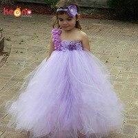Keenomommy Lavanda Tutú Muchachas de Flor Vestido con Diadema de Boda Elegante de La Fiesta Vestido de Dama de Honor Bebés Foto Complementos Disfraz TS122