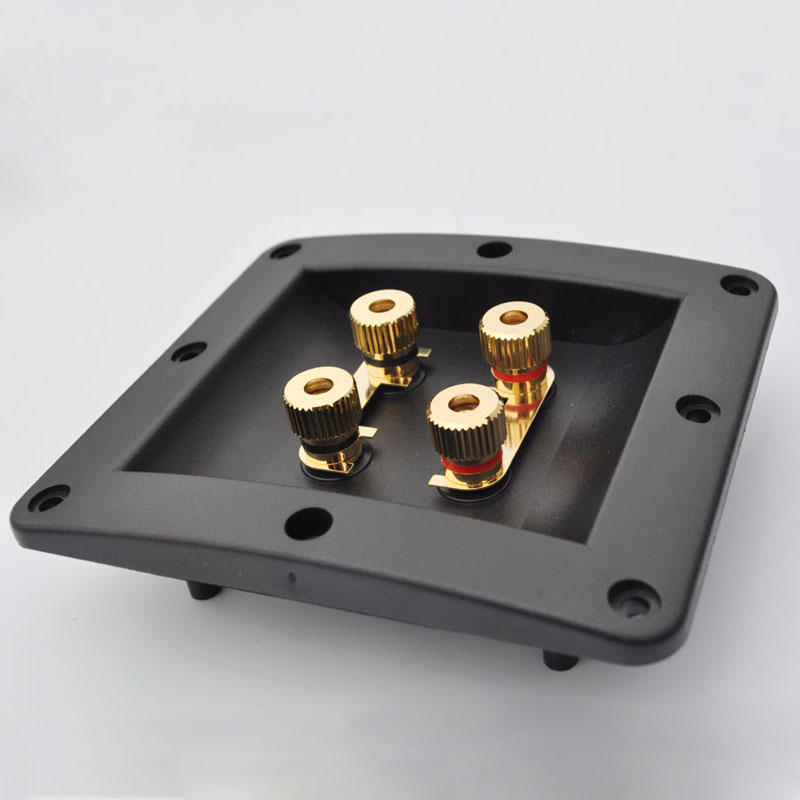 2pcs High Quality Four Speaker Junction Box Connector Plug Terminal Audio Speaker Panel Banana Socket Copper Gold Plated wsfs hot sale new 20pcs practical plastic silver plated connector audio banana speaker plug