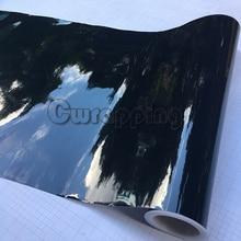 Película de vinilo negro lustroso de alta calidad, 50cm x 1,52 m/2m/3m/5m, envoltura brillante de Piano negro, hoja de envoltura de aire sin burbujas para coche