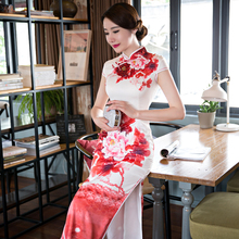 Sexy Silk Satin Cheongsam Chinese Traditional Cap Sleeve Evening Dress High-slit Full-Length Floral Retro Qipao QP39