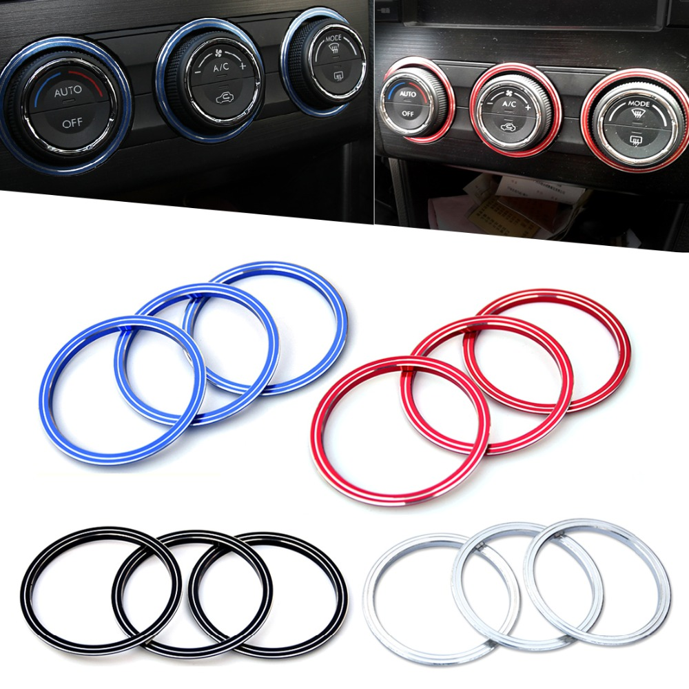 Car interior air quality - Car Interior Stylings 3pcs Aluminum Alloy Air Conditioning Decoration Knob Cover For Ford Escape Kuga Focus