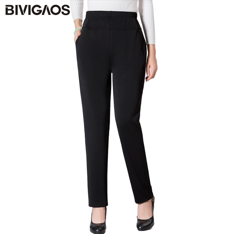 BIVIGAOS 2019 New Middle-Aged Old Womens Black Casual Pants Plus Size Trousers Loose Large Mom Pants For Spring Summer Autumn