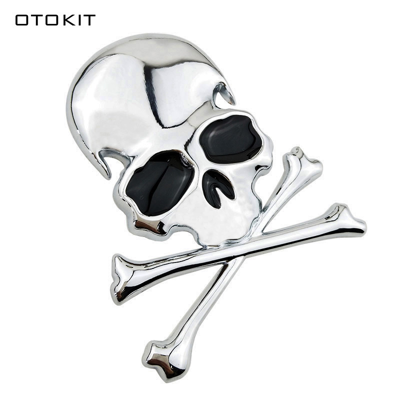 3D Metal Zinc Alloy Skull Skeleton Crossbones Car Motorcycle Sticker Truck Label Emblem Badge Car Styling Decoration Accessories stylish zinc alloy dragon car decoration sticker white silver 2 pcs
