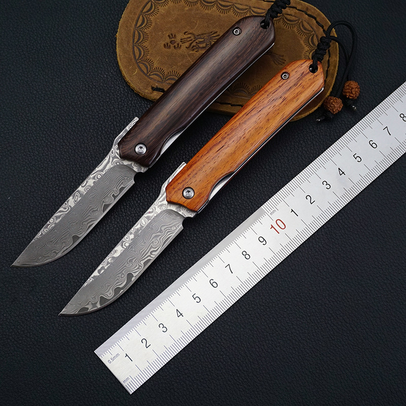 New Design Damascus Blade Wood Handle Folding Pocket Knife Outdoor Portable Camping Tactical Survival Knives Utility  EDC Tool