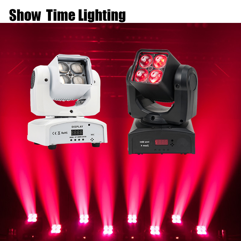 Fast delivery 4pcs 10W RGBW 4 IN 1 moving head light with zoom function good use for night Club KTV DJ Home entertainment Party
