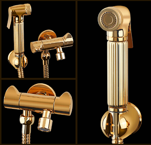 new arrival high quality brass gold bathroom widespread bidet faucet set with double use filling valve 2017 wholesale new premium high quality gold bidet mixer faucet taps