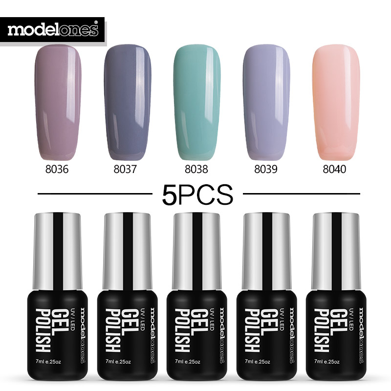 Modelones 5Pcs UV Led Nail Gel Polish Set 7ML Nail Gel Kit Long Lasting Nail Gel Varnish Soak Off Pure Color UV Gel Nail Primer