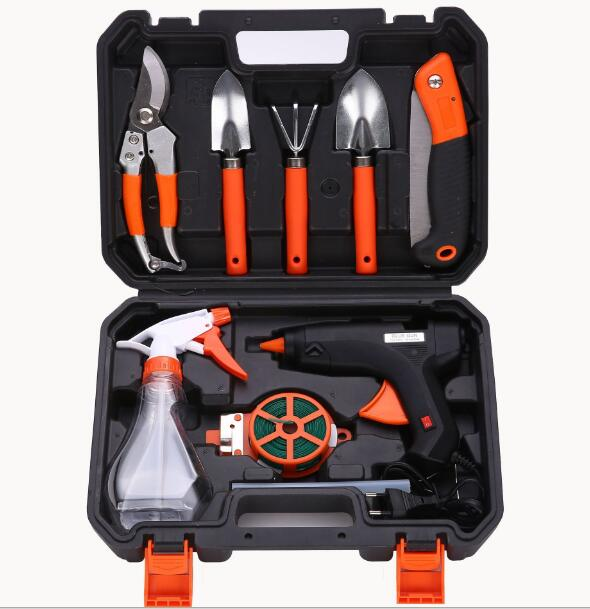 Free shipping 10 in 1 Garden tool set household garden household pruning tools branch cutter rake Shovel Gloves Rake Saws