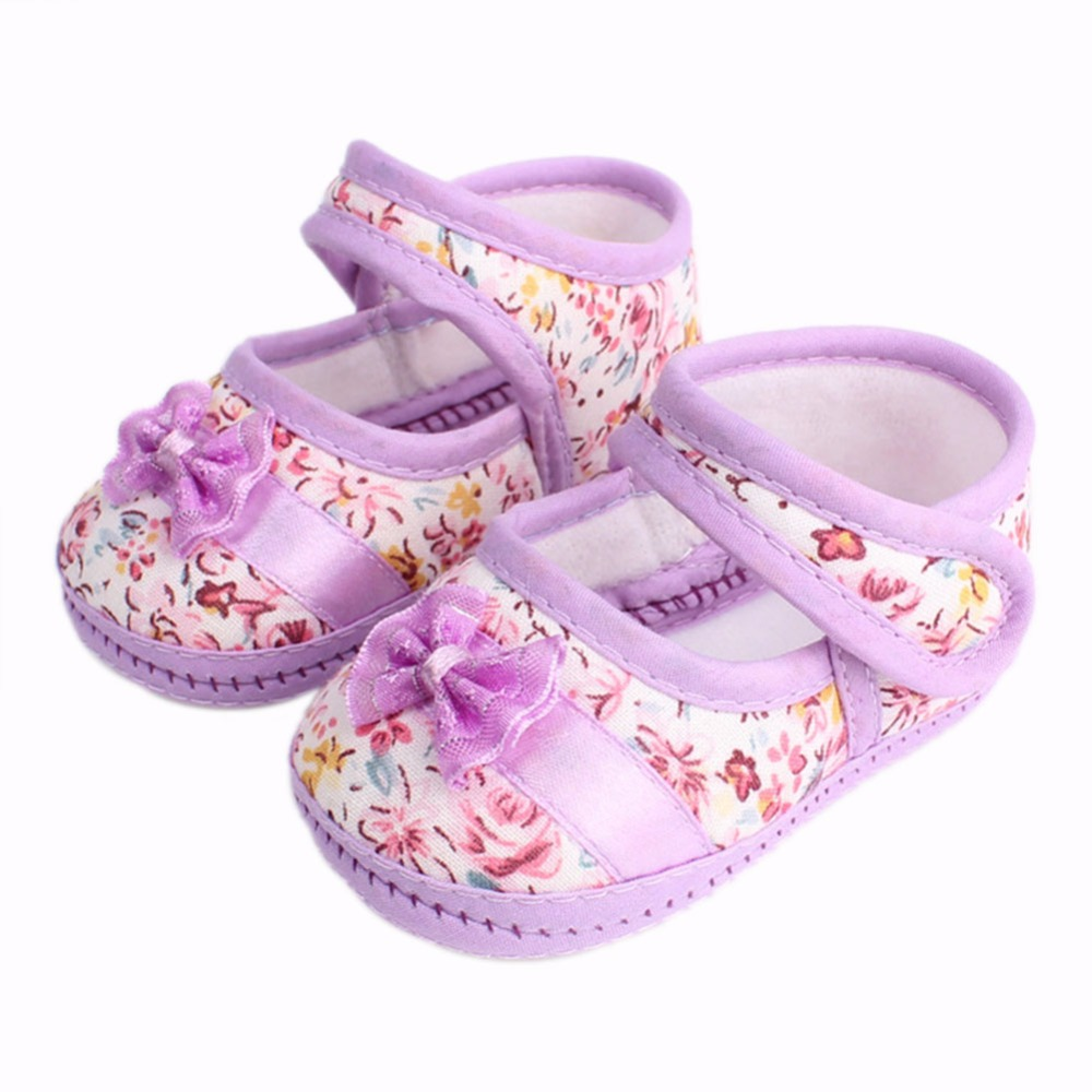 Girls Flowers Bow Baby Toddler Shoes Spring Autumn 11cm 12cm 13cm Children Footwear First Walkers