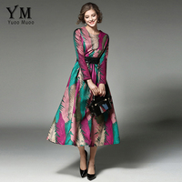 YuooMuoo New High Street Fashion Printed Women Dress Multicolor High Waisted Autumn Midi Dress High Quality