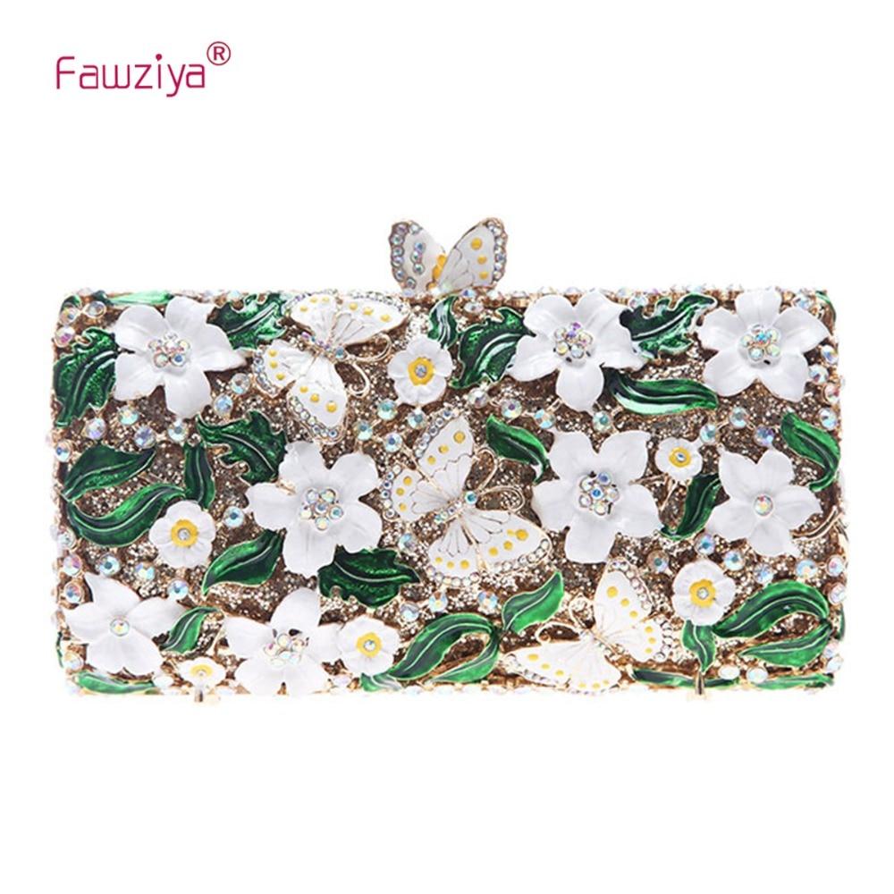 Fawziya Flower Bag Butterfly Clutch Chain Purse Box Clutch Evening Bags