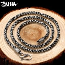 ZABRA Solid 925 Sterling Silver 4mm 56cm Braided Rope Link Chain Men Necklace Vintage Steampunk Retro Thai Craft Mens Jewelry(China)