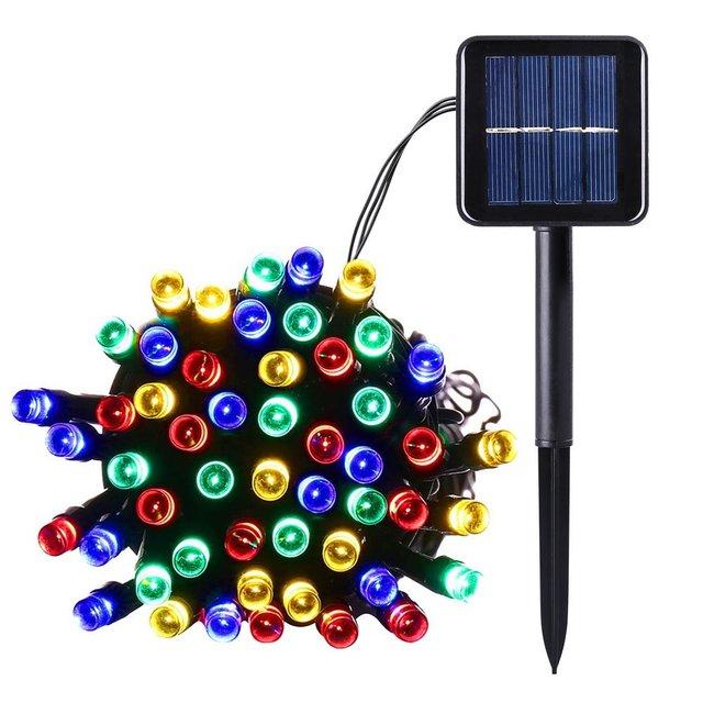 100 LED Lámparas Solares LED Luces de Hadas de Cuerdas Garland Cadena De Luz Solar para Jardín Fiesta de Navidad Decoración Al Aire Libre