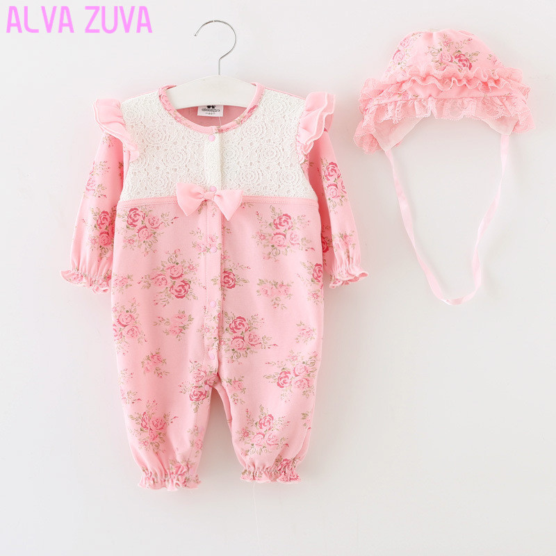 Newborn Full moon set  Princess Style Kids Birthday Dress Girls Lace Rompers+Hats Baby Clothing Sets Infant Jumpsuit Clt085 2015 newborn princess style baby girl clothes kids birthday dress girls lace rompers hats baby clothing sets infant jumpsuit