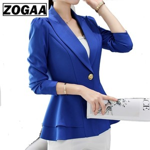 ZOGAA Women New Fashion Business Formal Suits Work Coat Elegant Ruffle Blue White Black Jacket Office Peplum Blazer