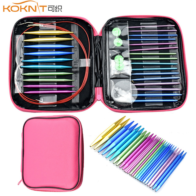 KOKNIT Crochet Hook Set 26PCS Circular DIY Knitting Needles Change Head Needle For Women DIY Craft Sewing Accessories With Case