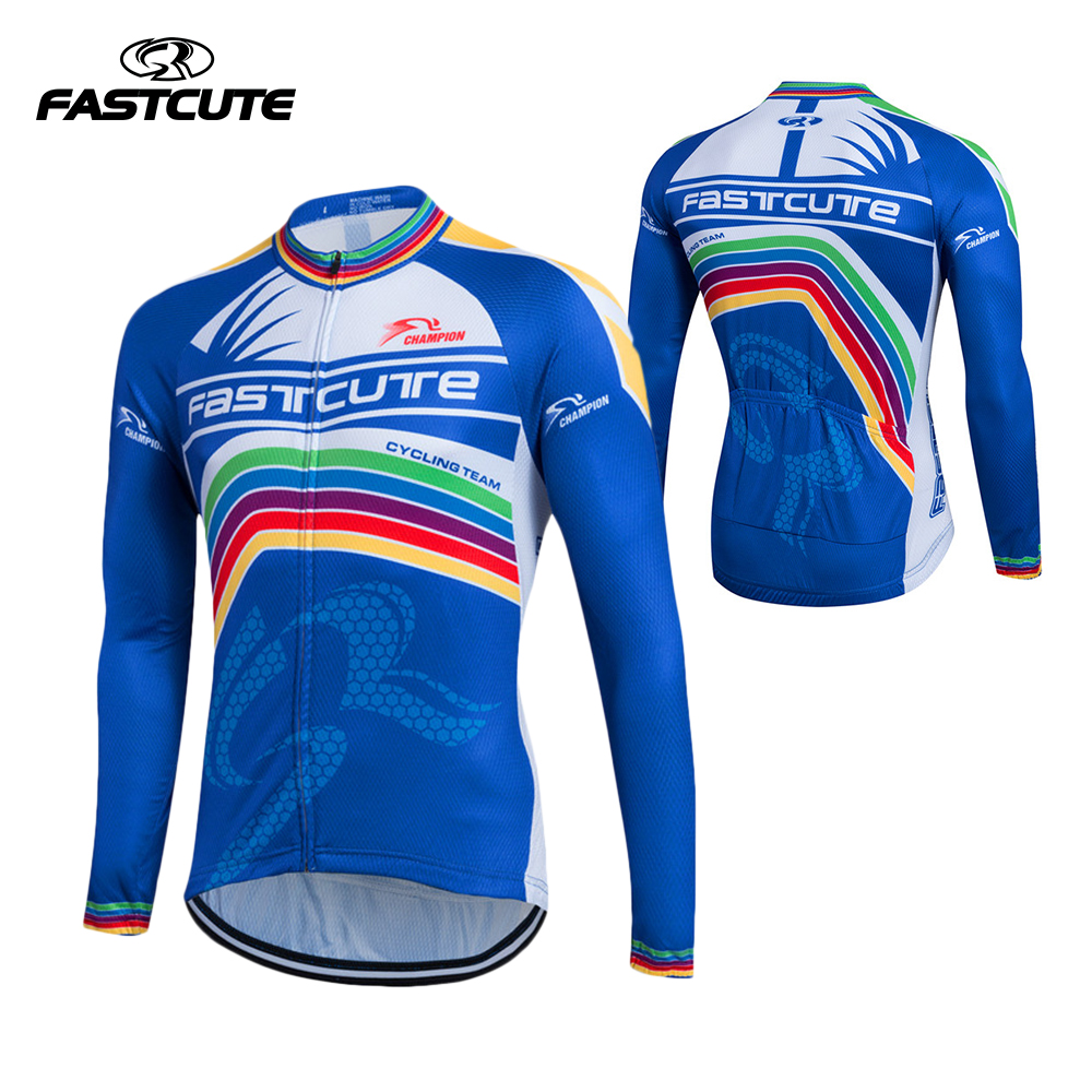 Fastcute Men's Summer Spring Long Sleeve Cycling Jersey Quick Dry Outdoor Sportswear Clothing MTB Bike Bicycle Zipper Shirt cheji women mtb cycling jersey sets bike outdoor sportswear maillot clothing quick dry cycling clothing long sleeve jersey