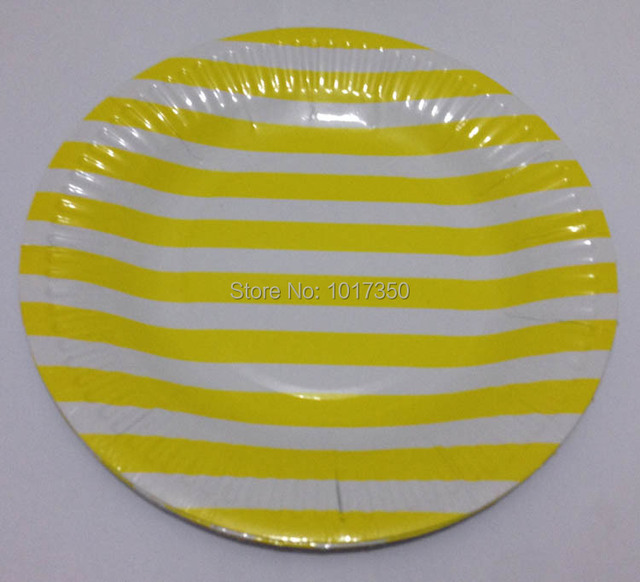 10pcs 7inch Yellow stripe Dinnerware Round Paper Plate Wedding Party Supplies Christmas paper Plates Event decoration  sc 1 st  AliExpress.com & 10pcs 7inch Yellow stripe Dinnerware Round Paper Plate Wedding Party ...