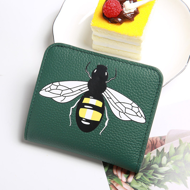 New Genuine Leather womens wallets and purses Soft-faced Litchi Pattern Calfskin Bee Patterned Women's Zip Wallet and Coin Purse