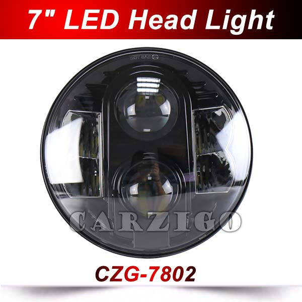 CZG-7802 1pc 7 inch h4 led headlight for jeep wrangler 4x4 high low beam 80w 7 round led head lamp DRL for harley motorcycles 7 inch round 50w 7 led headlight h4 led head lamp for harley motorcycle for jeep wrangler 4x4 with white amber halo hi low beam