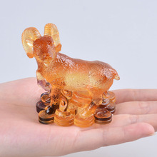Liuli 12 Chinese Animal Zodiac Signs Sheep Figurine Paperweight Beautiful Collectibles gifts