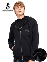 بايونير كامب موضة شتاء جديد سميك هوديس الرجال ماركة الملابس سستة الصوف الدافئة بلوزات الذكور 100% القطن AWY701217