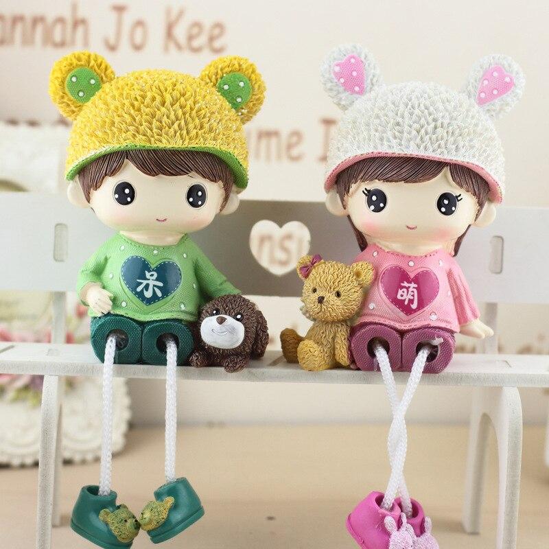 Милые куклы для пар, Мультяшные фигурки кукол для мальчиков и девочек, украшение для дома и офиса, свадебные подарки, подарок на день рождения, изделия из смолы